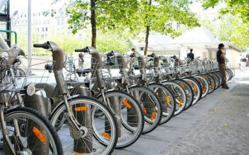 Velib bike rental station in Paris